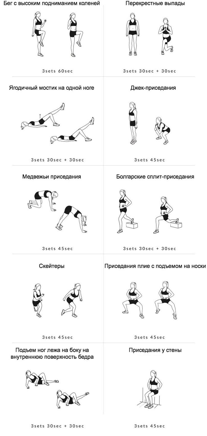 Комплекс домашних упражнений для мышц ног